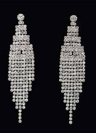 Серьги со стразами кристаллами вечерние сережки длинные 3053