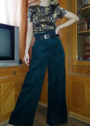 Широкие брюки палаццо вельветовые изумрудного цвета denim co wide leg