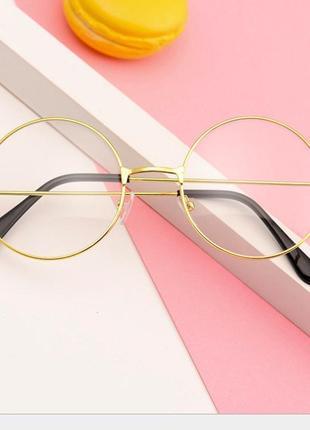 Имиджевые очки нулевки круглые с прозрачными стеклами золотые