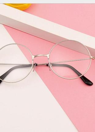 Имиджевые очки нулевкикруглые с прозрачными стеклами серебряные