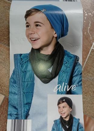 Крутой набор шапка и снуд шарф европейского бренда alive 110/122 шапка двусторонняя