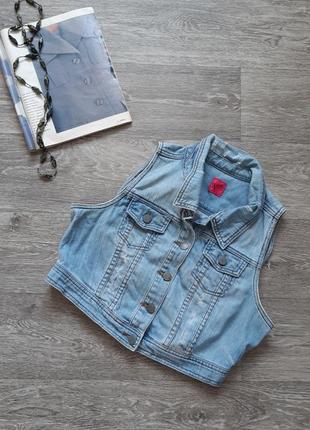 Sale джинсовая жилетка с потёртостями george