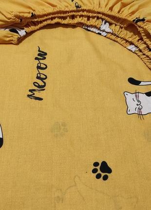 Простыни на резинке из плотной бязи - коты на желтом, все размеры, быстрая отправка