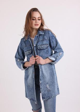 Джинсовый кардиган, джинсовка, большие размеры, от 52 р. до 62 р. новинка.