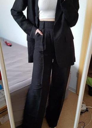 Черные широкие брюки, лён+вискоза, бренд h&m! оригинал, из португалии!