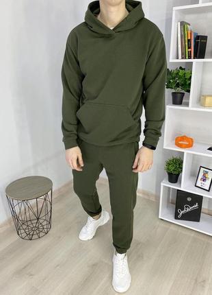 Мужской спортивный костюм весенний трехнитка оверсайз хаки под кроссовки свободный