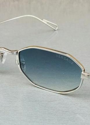 Versace очки солнцезащитные унисекс модные узкие синий градиент в серебре
