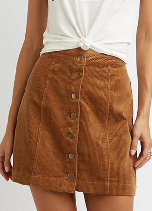 Вельветовая мини юбка трапеция на пуговицах denimco