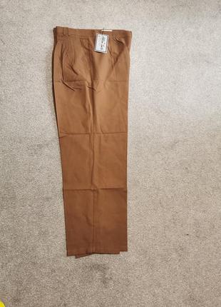Хлопковое брюки бежевые