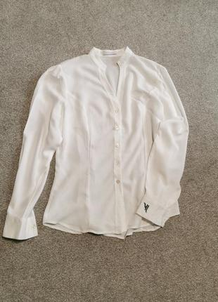 Дизайнерская белая офисная блуза
