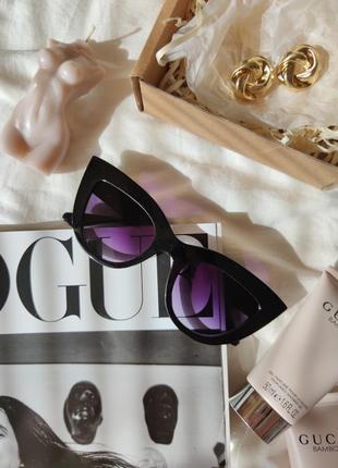 Очки окуляри солнцезащитные солнце кошечки кошачий глаз черные темные новые2 фото