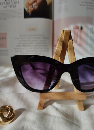 Очки окуляри солнцезащитные солнце кошечки кошачий глаз черные темные новые4 фото
