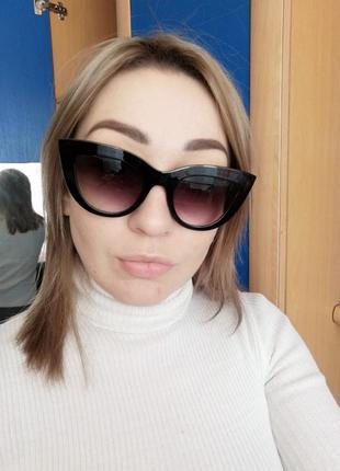 Очки окуляри солнцезащитные солнце кошечки кошачий глаз черные темные новые9 фото