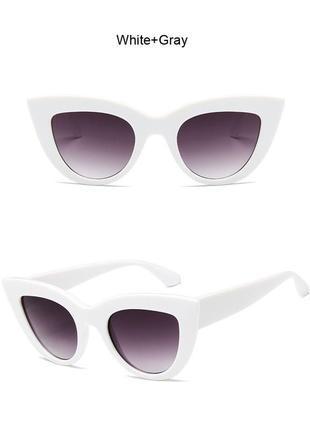 Очки окуляри солнцезащитные солнце кошечки кошачий глаз белые темные новые7 фото