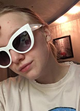 Очки окуляри солнцезащитные солнце кошечки кошачий глаз белые темные новые9 фото