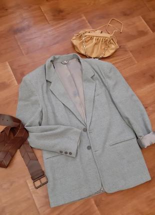 Пиджак жакет в клетку серо бирюзового цвета