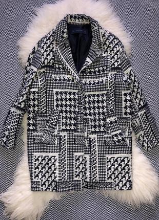 Пальто шерстяное шерсть бочка гусиная лапка принт клетка zara