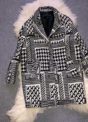 Пальто шерстяное шерсть бочка гусиная лапка принт клетка zara4 фото