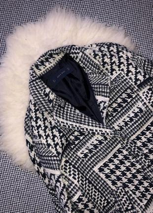 Пальто шерстяное шерсть бочка гусиная лапка принт клетка zara3 фото