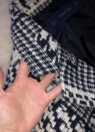 Пальто шерстяное шерсть бочка гусиная лапка принт клетка zara5 фото