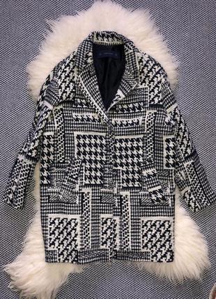 Пальто шерстяное шерсть бочка гусиная лапка принт клетка zara8 фото