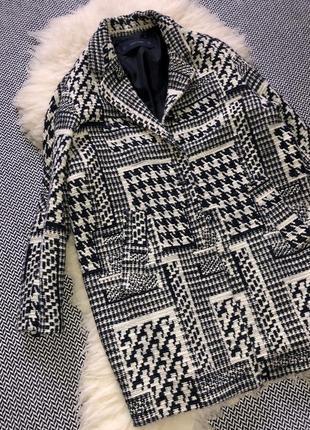 Пальто шерстяное шерсть бочка гусиная лапка принт клетка zara10 фото