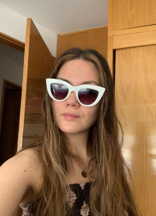 Очки окуляри солнцезащитные солнце кошечки кошачий глаз белые темные новые10 фото