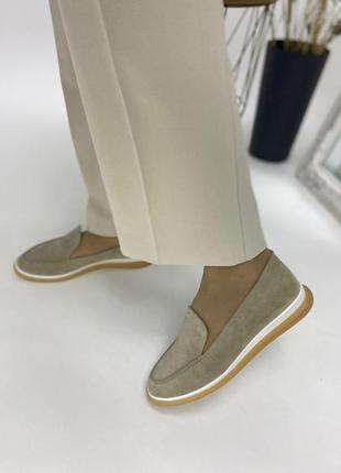 Туфли лоферы женские замшевые бежевые 36-40