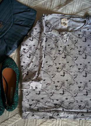 Винтажная кофта реглан свитшот серая с арт принтом и бантиком рукав 3/4 36 s