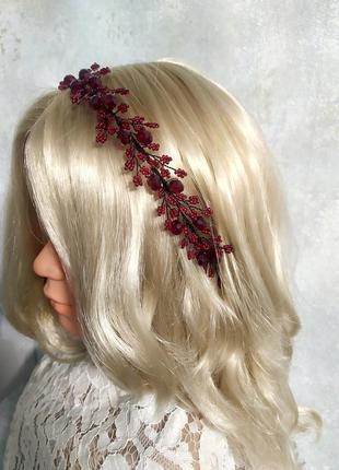 Ободок бордовый, обруч для волос