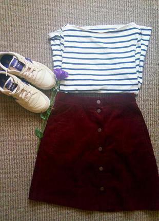 Вельветовая юбка на заклепках