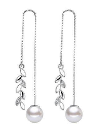 Серьги цепочки бусина подвески покрыты серебром 925 / большая распродажа!