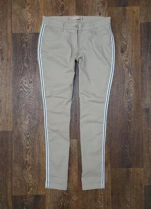 Стильные штаны брюки чиносы с лампасами зауженные next