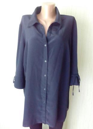 Стильная рубашка classics, блуза темно-синего цвета. свободного кроя.  раз.52-54