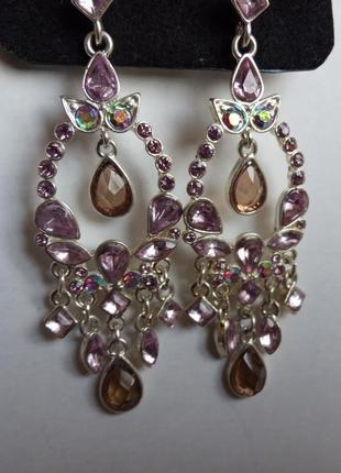 Роскошные серьги сережки шандельеры с кристаллами италия покрытие серебром