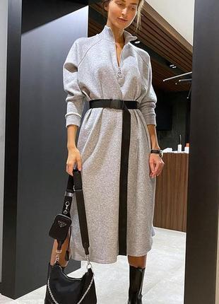 Стильное свободное платье миди с поясом турецкий трикотаж