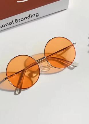 Солнцезащитны очк круглы тишейд оранжевы линз металлическа оправ детски для девочк мальчик