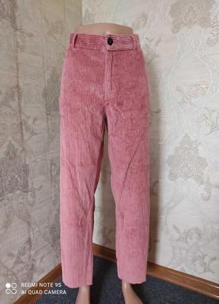 Вельветовые широкие брюки высокая талия посадка