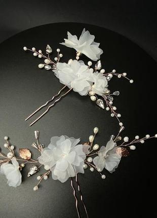 Набор шпилек с цветами в причёску невесты