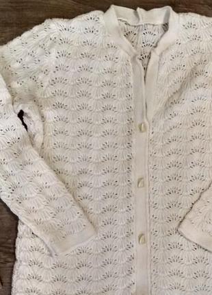 Кофта ажурная молочного цвета, размер 42-44