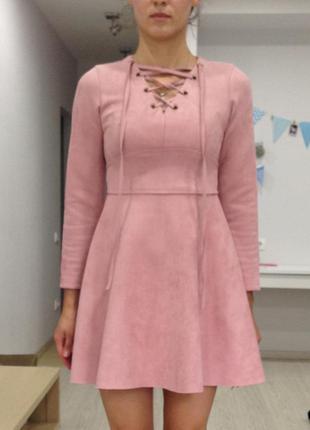 Платье замшевое, розовое, как новое!