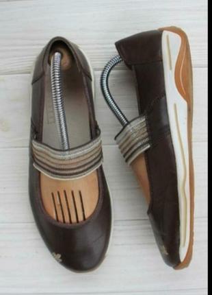 Кроссовки балетки туфли мокасины кожа коричневые rieker
