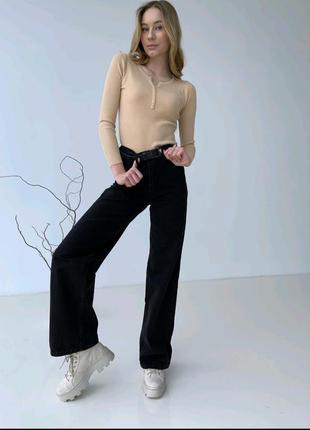 Женские джинси палаццо прямой крой кльош