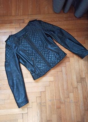 Пиджак жакет кожаная стеганная куртка benetton размер m