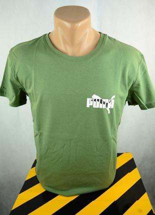 Футболка светло-зеленая мужская однотонная с принтом