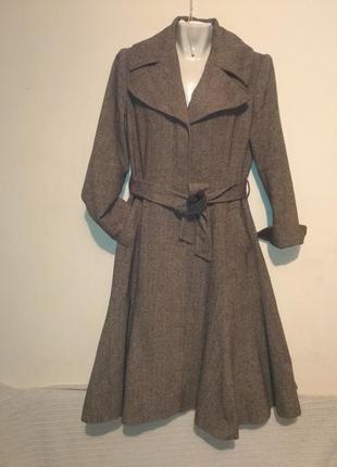Пальто винтаж годэ приталеное елочка твид шерсть