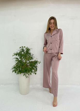 Удобный шелковый костюм пижама двойка (кофта рубашка на пуговицах и штаны брюки)
