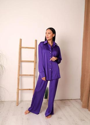Шелковый комплект пижама одежда для дома рубашка штаны свободного кроя
