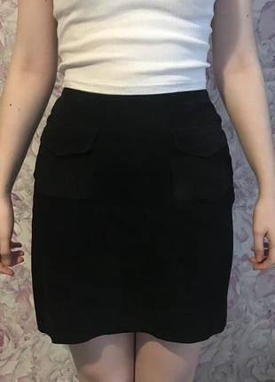 Черная юбка замша натуральная warehouse размер s