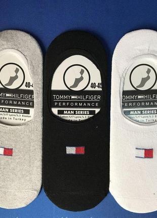Носки следы мужские tommy hilfiger 40-45р черные/белые/серые